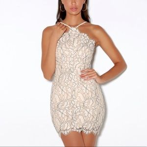 Lulu's Nude White Lace Bodycon Dress Medium